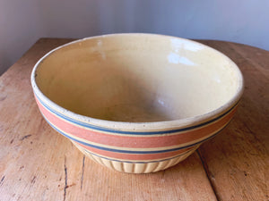 "Antique 10"" Stoneware Mixing Bowl with Blue and Red Bands 