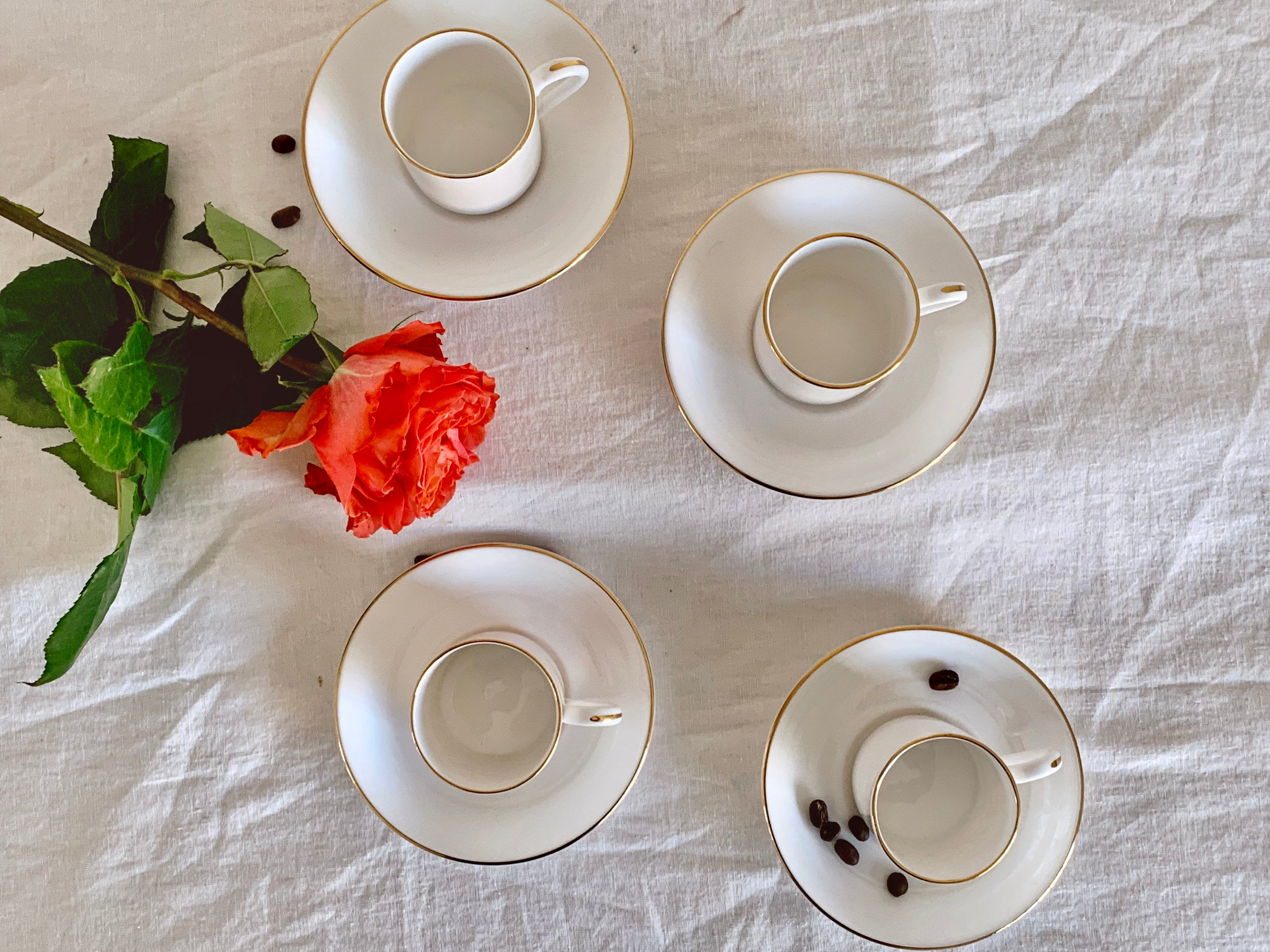 Vintage Crown Staffordshire for Tiffany & Co Bone China Gold Trim Demitasse Cup and Saucer Set | Espresso Cup Set