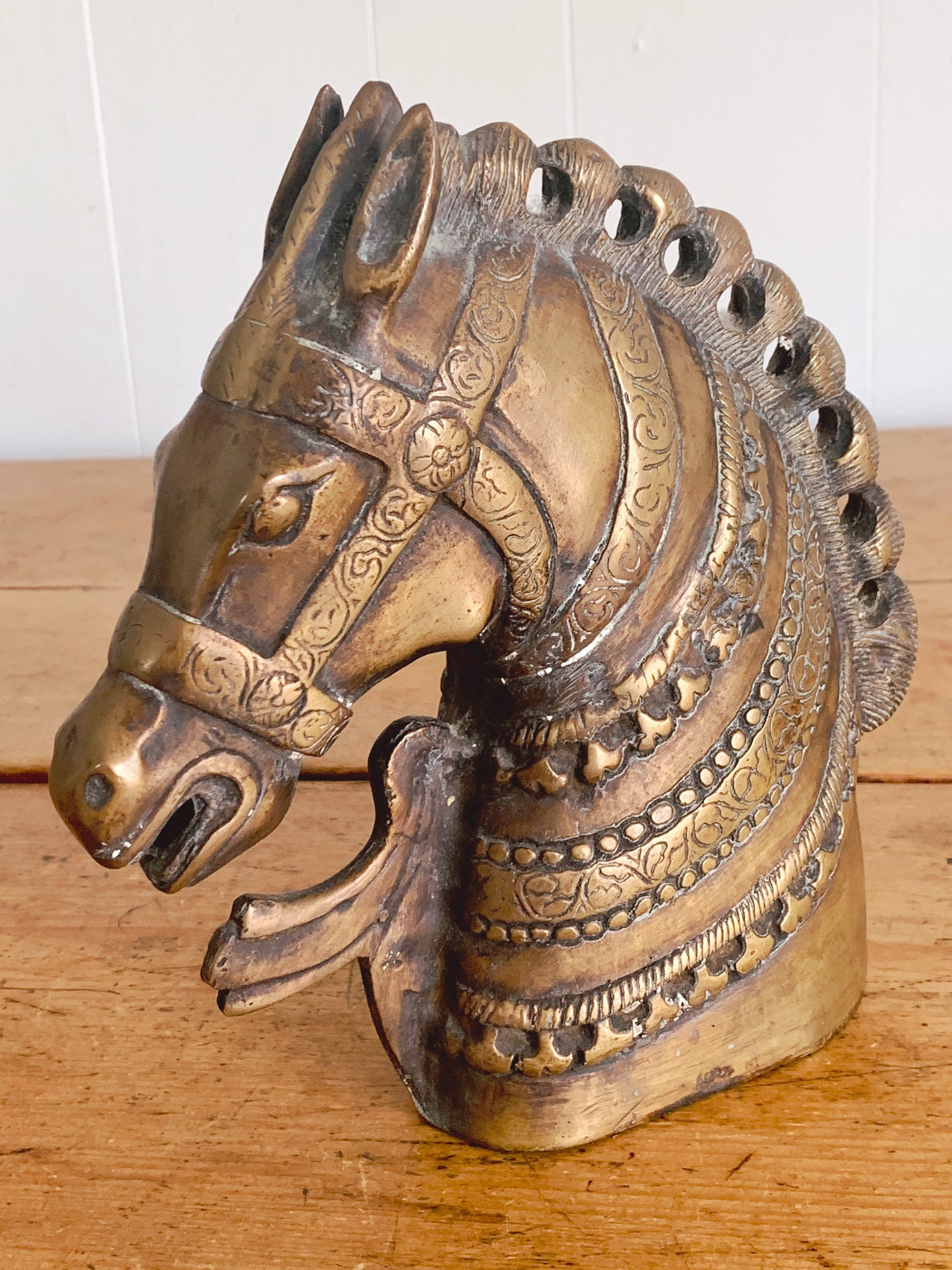 Pair of Vintage Mid Century Highly Decorative Bronze Horse Head Bookends | Horse Sculptures Equestrian Library and Office Decor