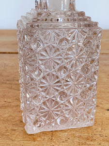 Small Vintage Fenton Glass Pressed Glass Square Decanter in Daisy Button Pattern with Stopper | Whiskey Decanter Barware Bar Cart Decor