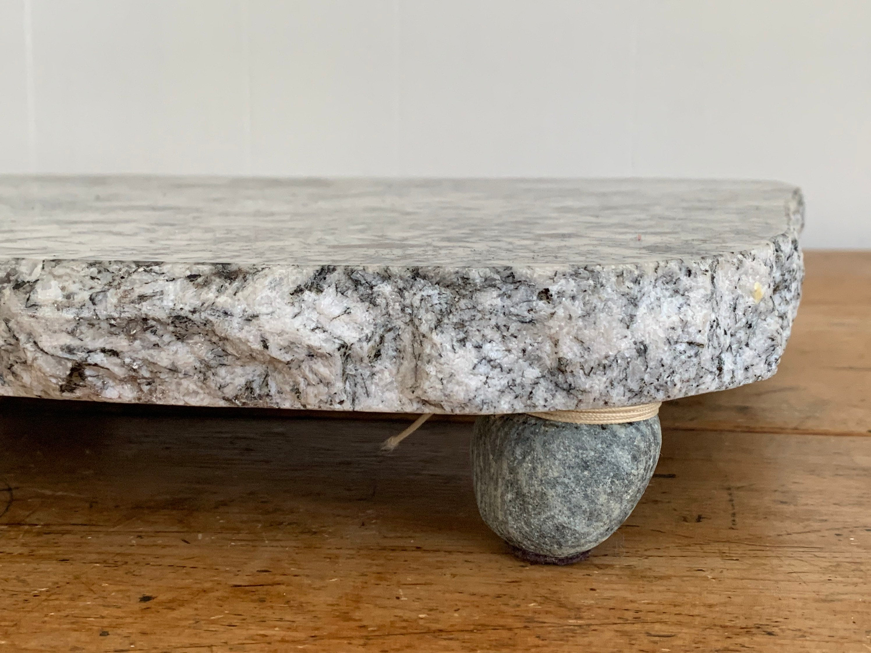 Large Vintage Marble Cheese Board with Four Feet | Beautifully Marbled Charcuterie Platter Serving Stand Cutting Board