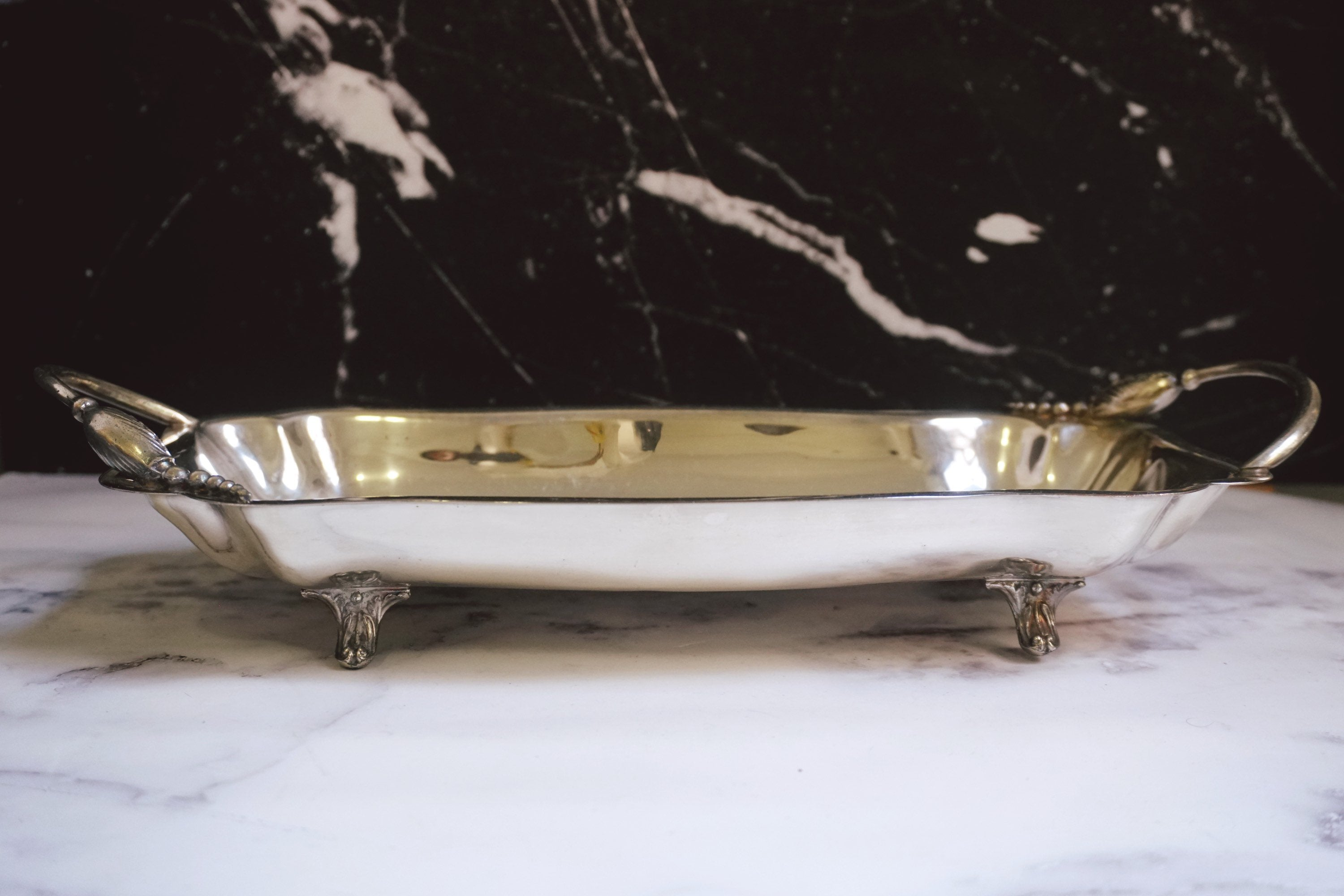 Vintage Silver-Plated Four Footed Serving Tray with Handles | Silver Fruit Bowl Planter - Urban Nomad NYC