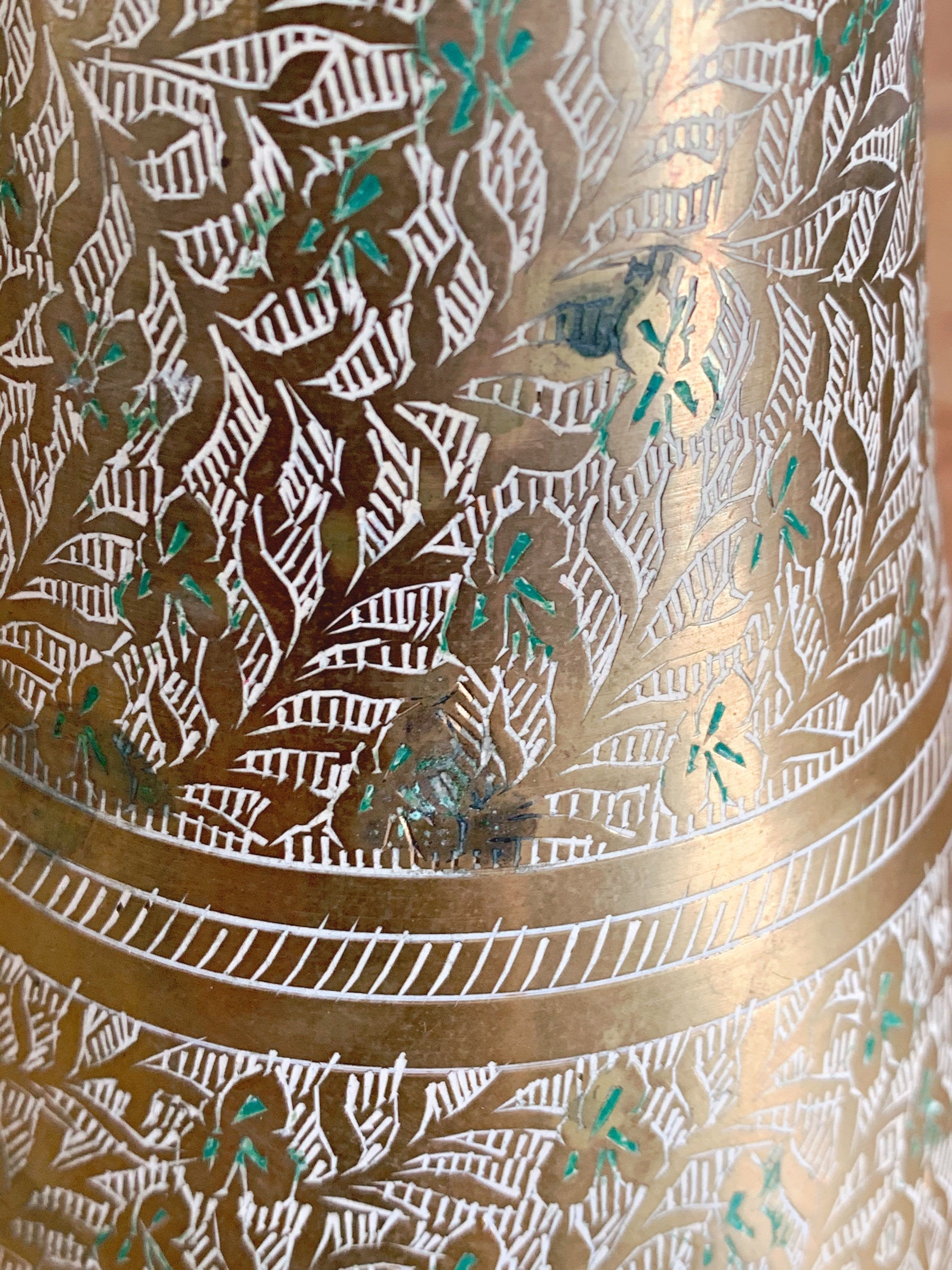 Vintage Indian Solid Brass Etched Flower Vase | Hand Painted White and Green Leaf Pattern
