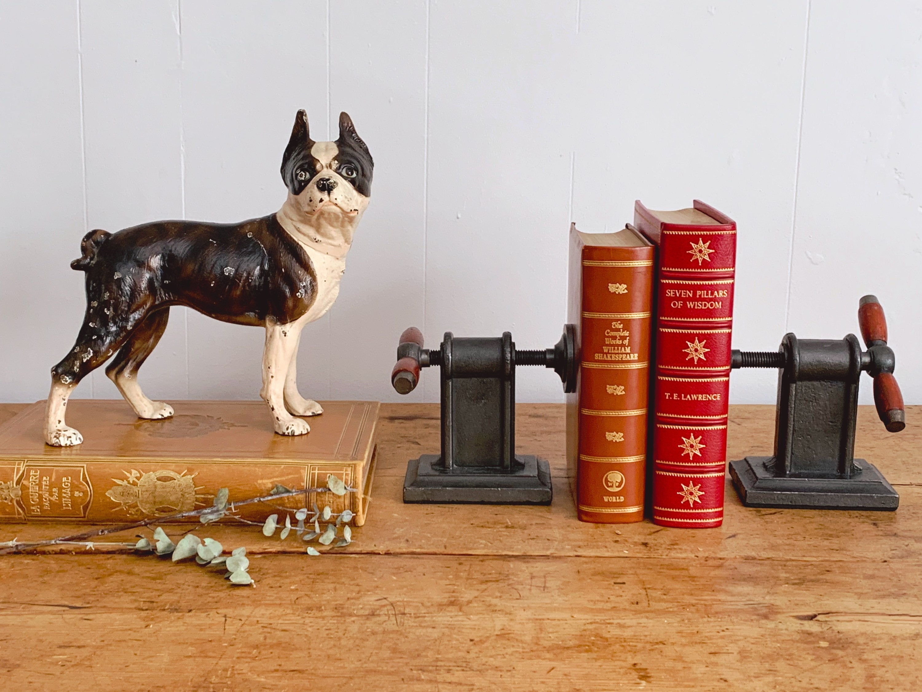 Antique Cast Iron Boston Terrier Dog Door Stopper by Hubley c.1910 | Dog Figurine Rustic Farmhouse Home Decor