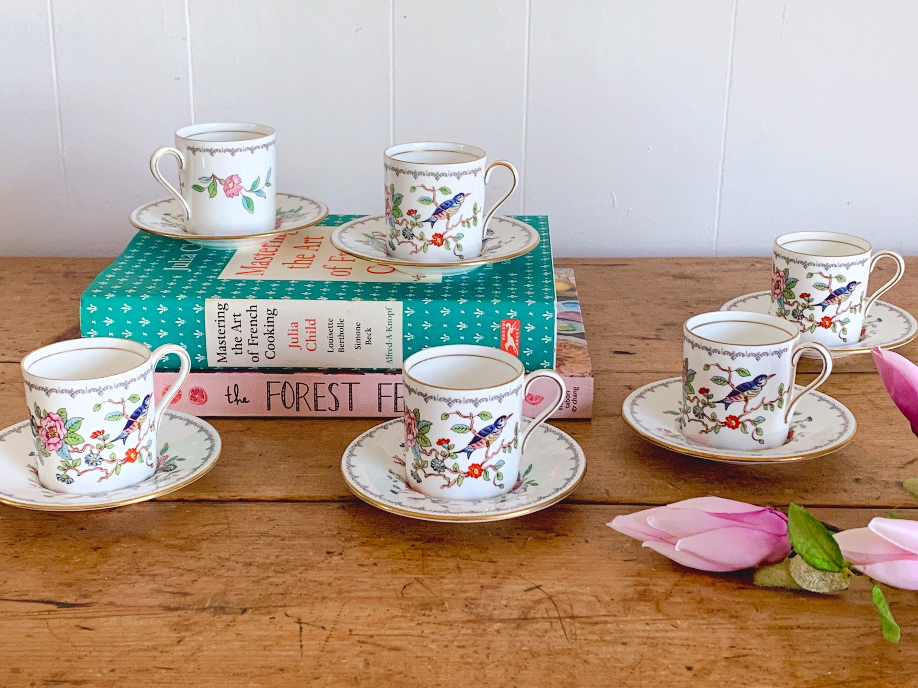 Vintage Aynsley Pembroke Demitasse Cup and Saucer Set | Bone China Espresso Cups with Gold Trim | 2, 4 or 6 sets