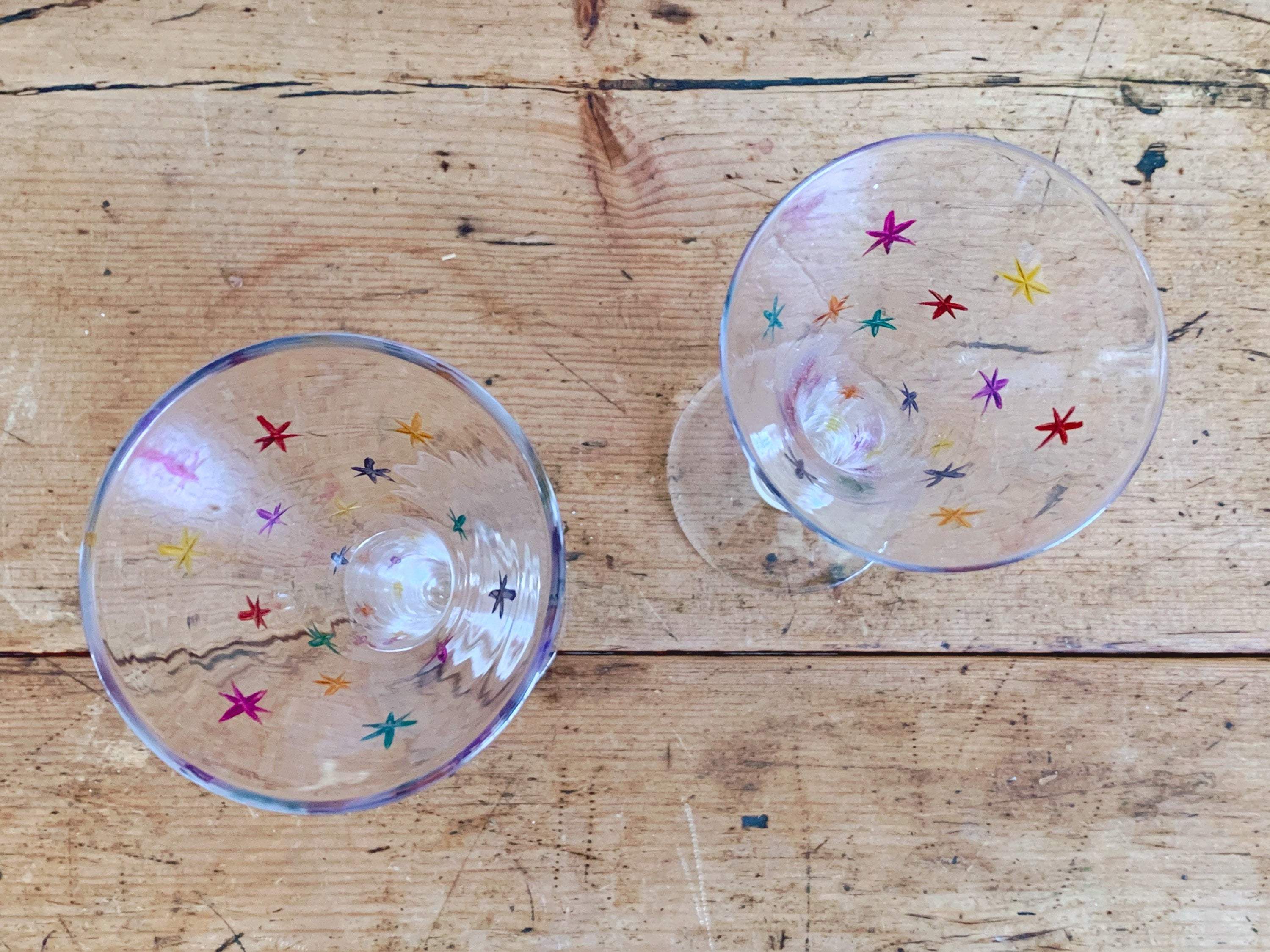 Pair of Vintage Multi-Colored Starburst Champagne Flutes | Barware Glasses Gift For Her New Years Eve Party