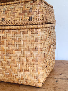 Set of 2 Vintage Hand Woven Sea Grass Storage Boxes with Lid | Natural Straw Basket Home Decor Organization