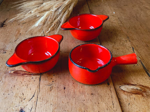 Vintage Red French Onion Soup Bowl Crocks | Round Au Gratin Dish Made in France