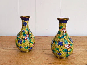 Pair of Vintage Small Yellow Cloisonné Brass Enamel Vases with Blue and Green Floral Decorations from China | Mid Century Asian Home Decor