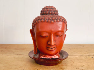 Large Vintage Chinese Red Buddha Head Beeswax Candle on Wooden Tray Stand | Luxe Decorative Object | Wellness Gift