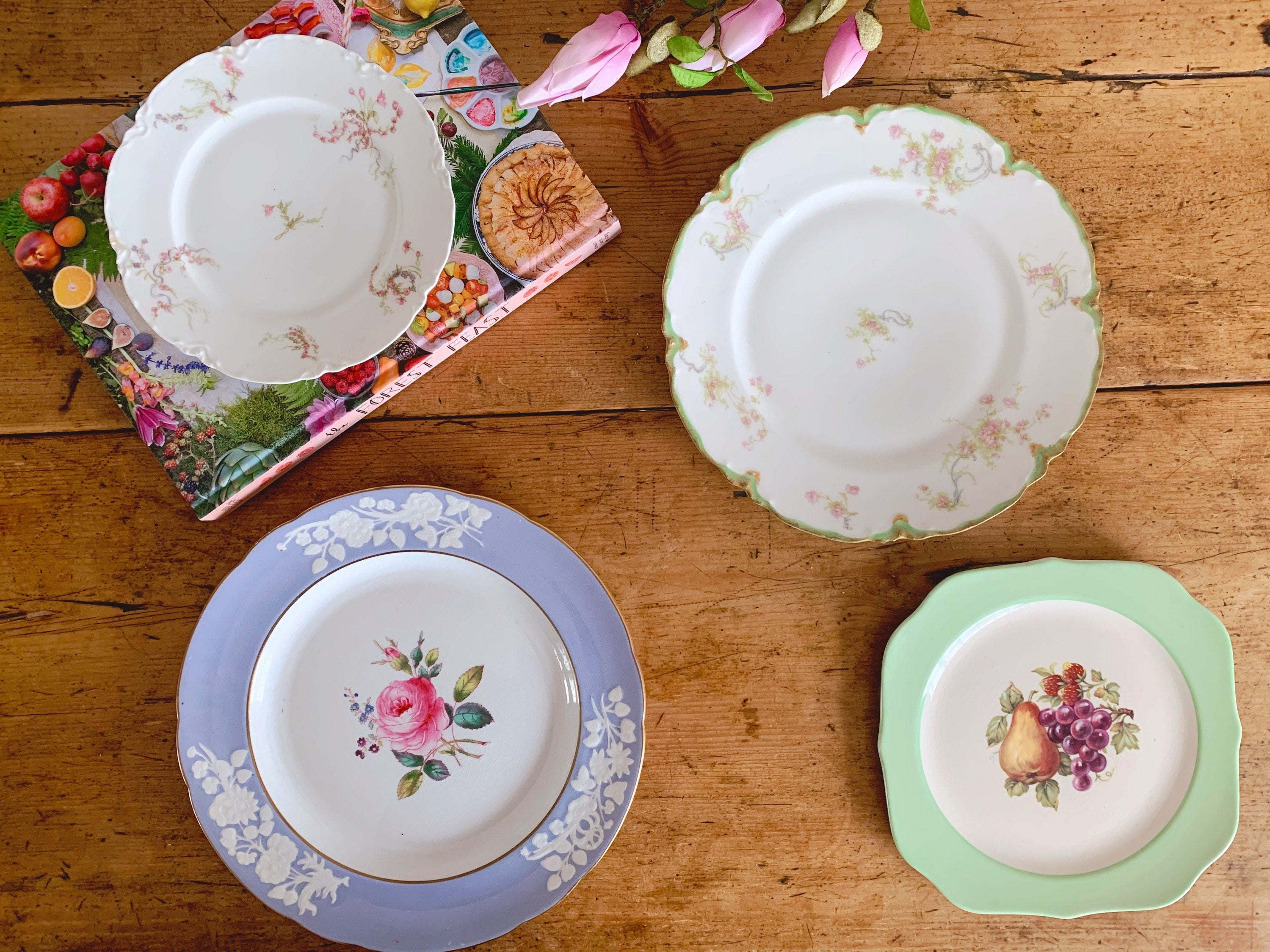 Mix and Match Vintage Fine China Floral Plates | Haviland Limoges Crooksville U.S.A. | French China English China Porcelain Dinnerware