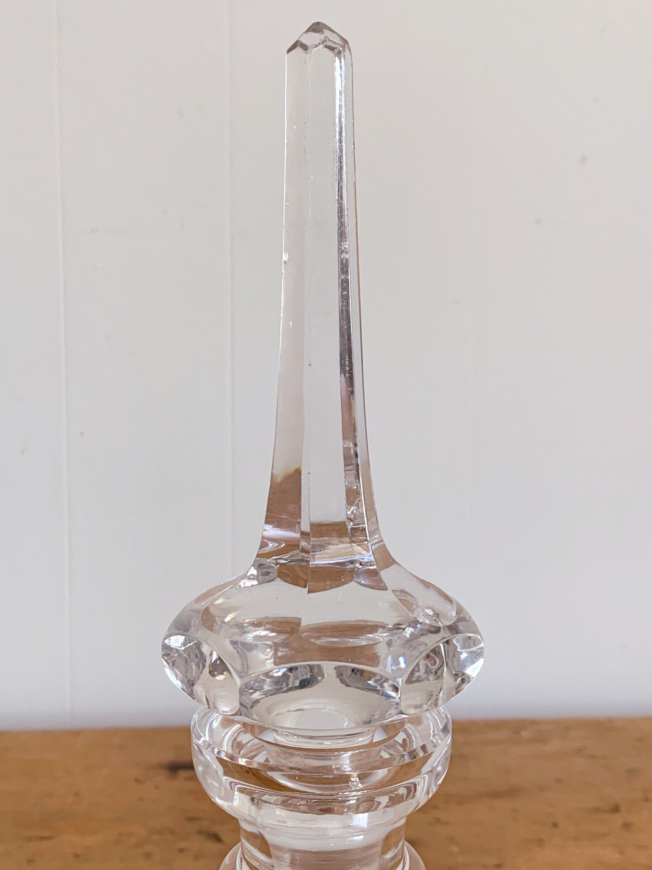 Antique 19th Century Rare Bohemian Cut Crystal Glass Decanter with Tall Stopper | Vintage Barware Bar Cart Decor