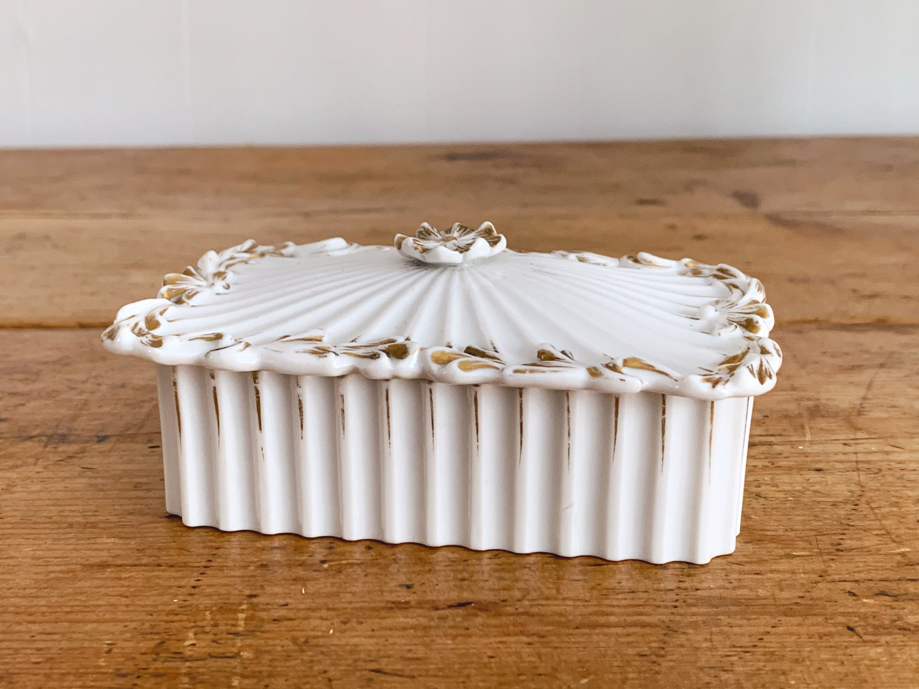 Antique French Gilded White Porcelain Jewelry Box with Lid | Vintage Keepsake Storage Box