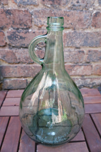 Vintage Green Glass Jug | Gallon Size Demijohn Carboy Wine Jug | Farmhouse Style Vase