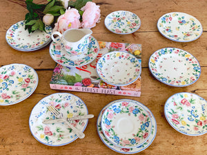 Vintage Laura Ashley Hazelbury Bread and Butter Plates, Saucer and Creamer | Floral Pattern Tableware Made in Staffordshire England