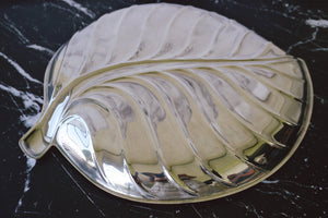 Vintage Mid-Century Silver-Plated Serving Platter | Large Tropical Leaf Design Tray by International Silver Company - Urban Nomad NYC