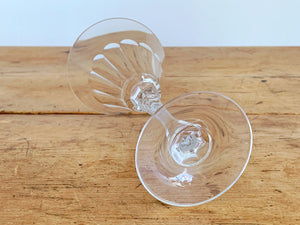 Pair of Vintage Cut Crystal Wine Glass | Deep Martini Glass | Craft Cocktail Glasses