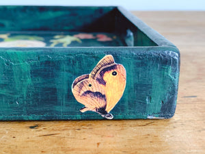 Vintage Handmade Dog Themed Decoupage Wooden Tray Serving Tray by Susan Crater | Dark Green Valet Tray with Two Handles