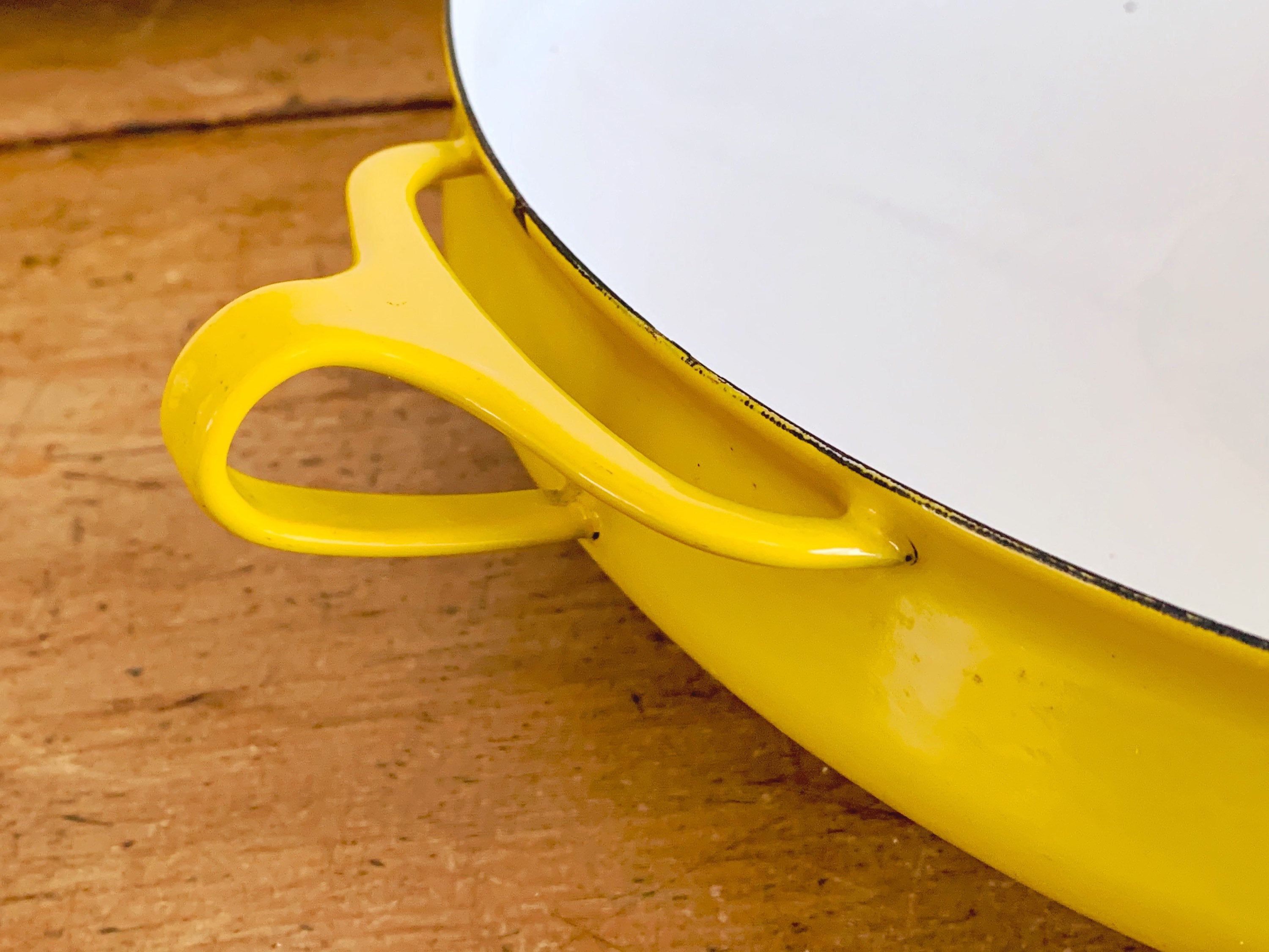 "Vintage Mid Century Modern Dansk Kobenstyle Two Handled Yellow Enamel 13.5"" Inch Paella Pan Skillet Casserole 