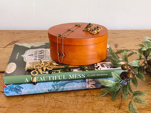 Vintage Leather Covered Wood Round Storage Box with Lid | Home and Office Organization