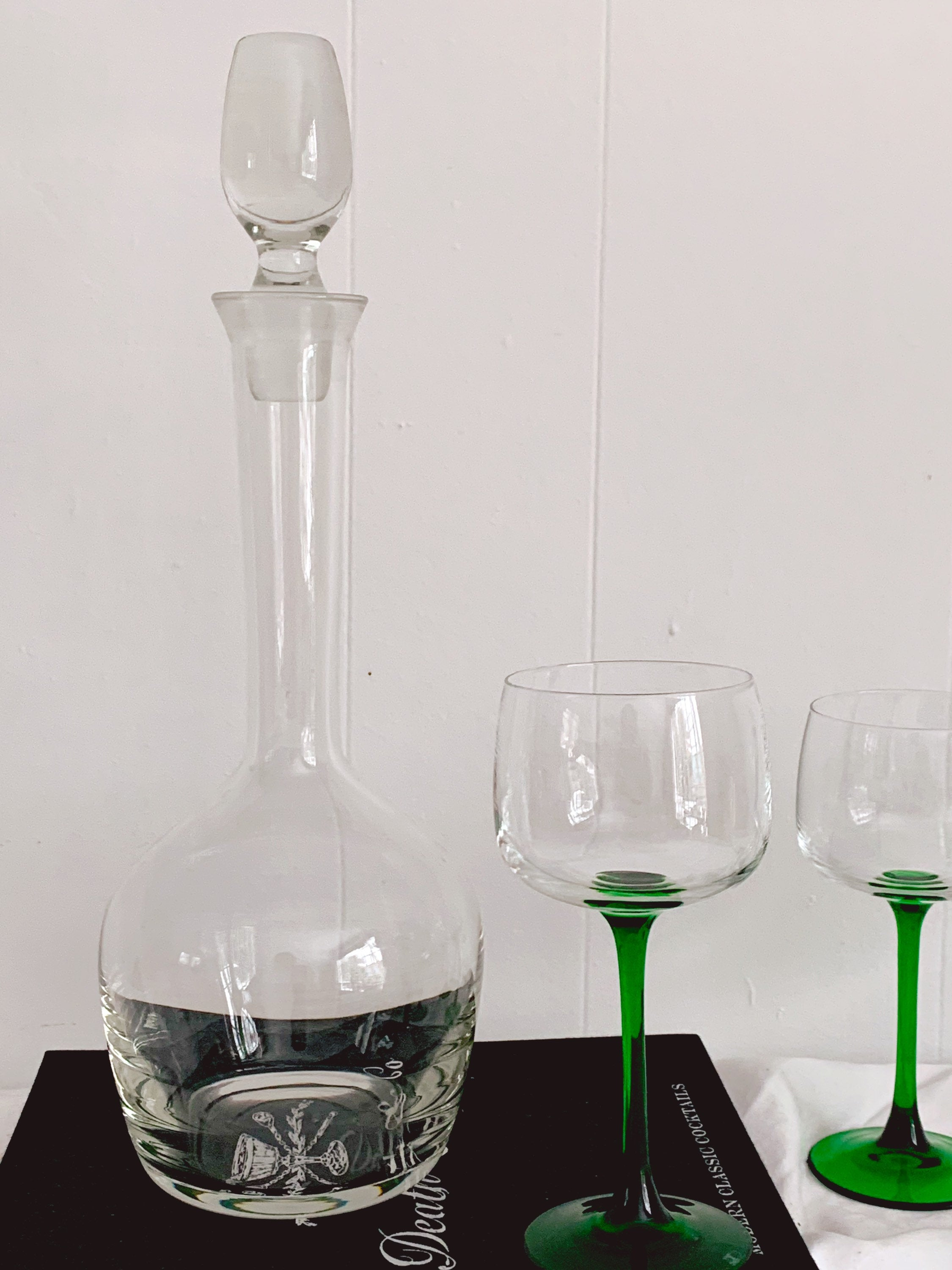 "Modern Hand Blown 15"" Tall Long Neck Glass Wine Decanter with Stopper"