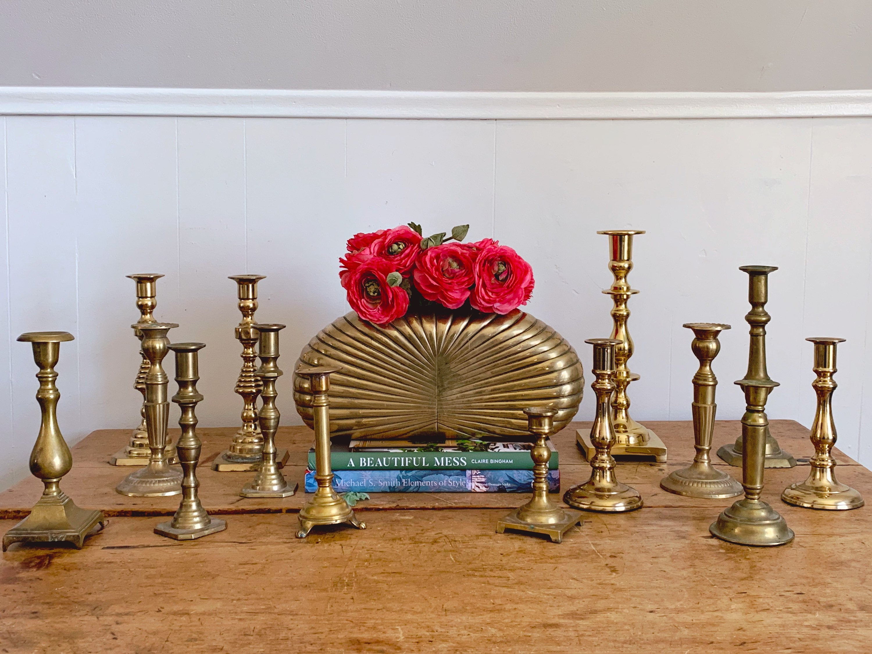 Assorted Pairs of Vintage Brass Taper Candle Holders | Antique Candlesticks Farmhouse Home Decor Wedding Decor Tablesetting