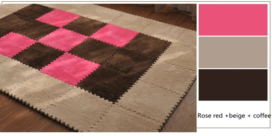 plush rug: rose red + beige + coffee color