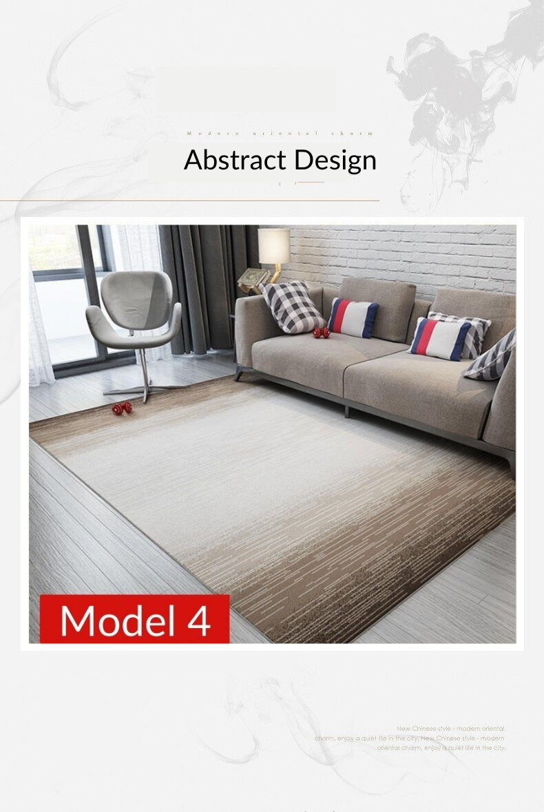 Carpet with abstract design. Gray and brown lines