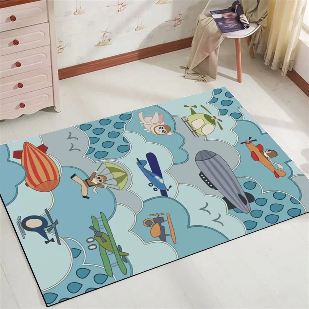 Kids rug beautiful blue childrens planes