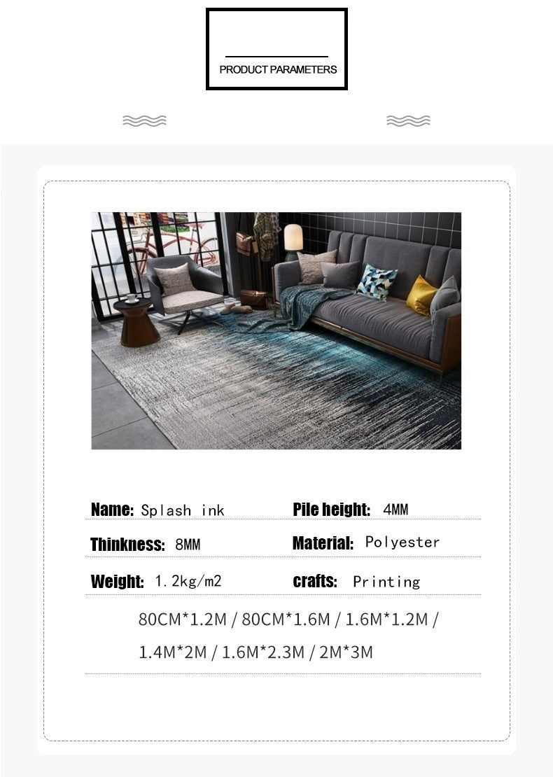 Rug parameters: thinkness 8 mm, material polyester, weight 1.2kg / m2