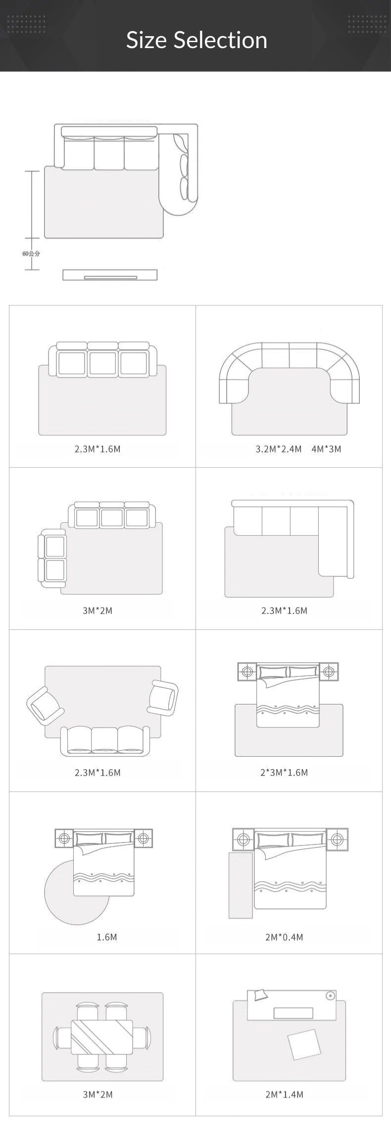 Rug table Sizes