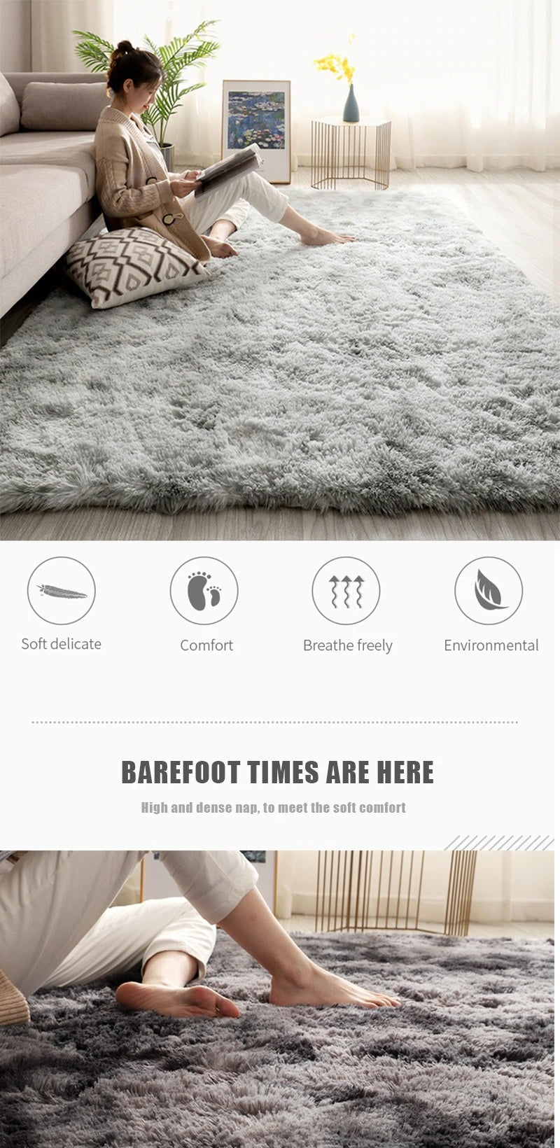 Soft comfortable and fluffy nordic rug