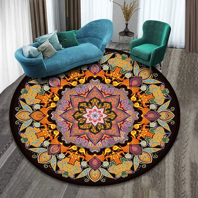 Vintage Round Rug: Model 1, orange and yellow with figures of different colors.