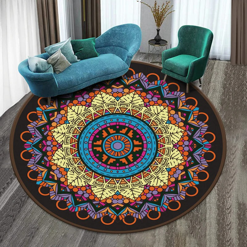 Vintage Round Rug: Model 2, purple, yellow, blue, with figures of different colors and many shapes.