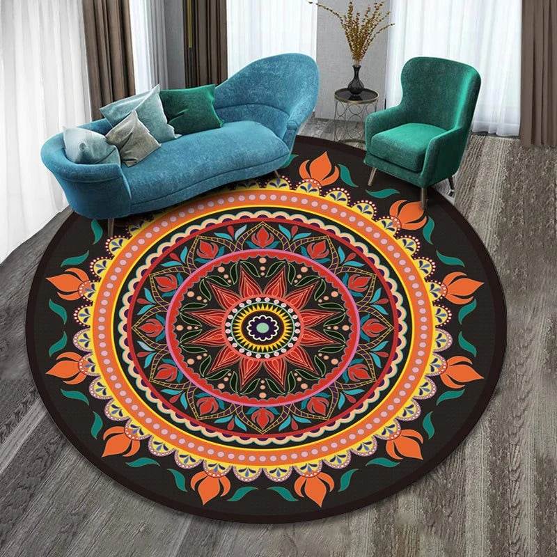 Vintage Round Rug: Model 3, orange, pink, green, with figures of different colors and many shapes.