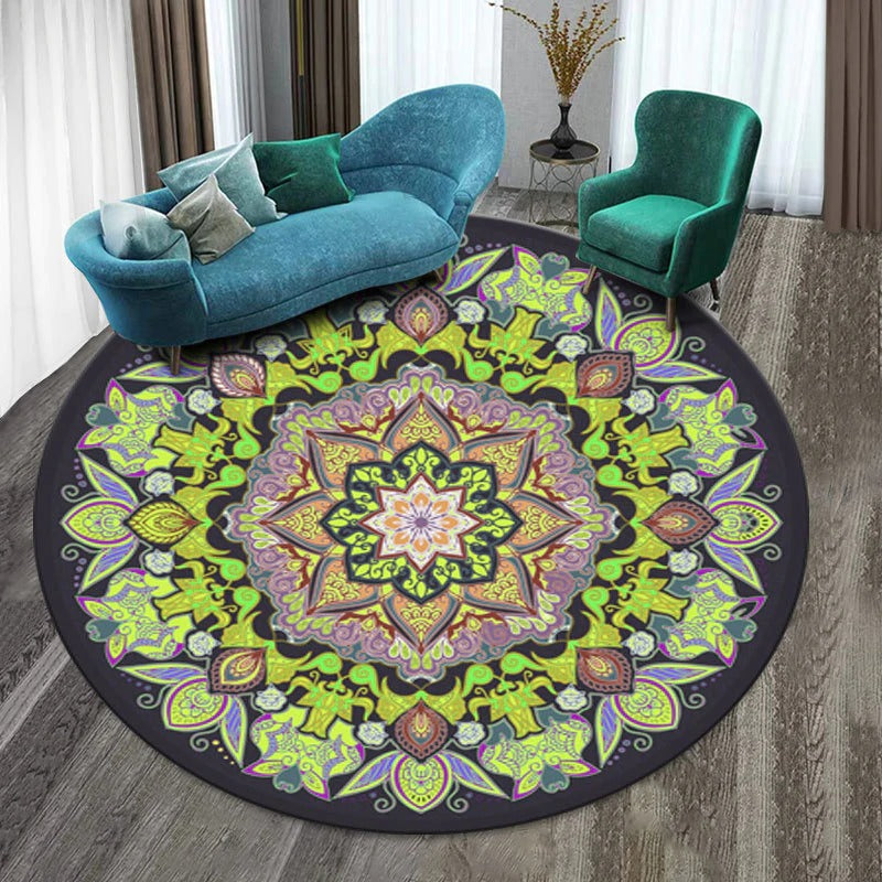 Vintage Round Rug: Model 7,color, light purple, dark purple, yellow with figures of different colors and many shapes.
