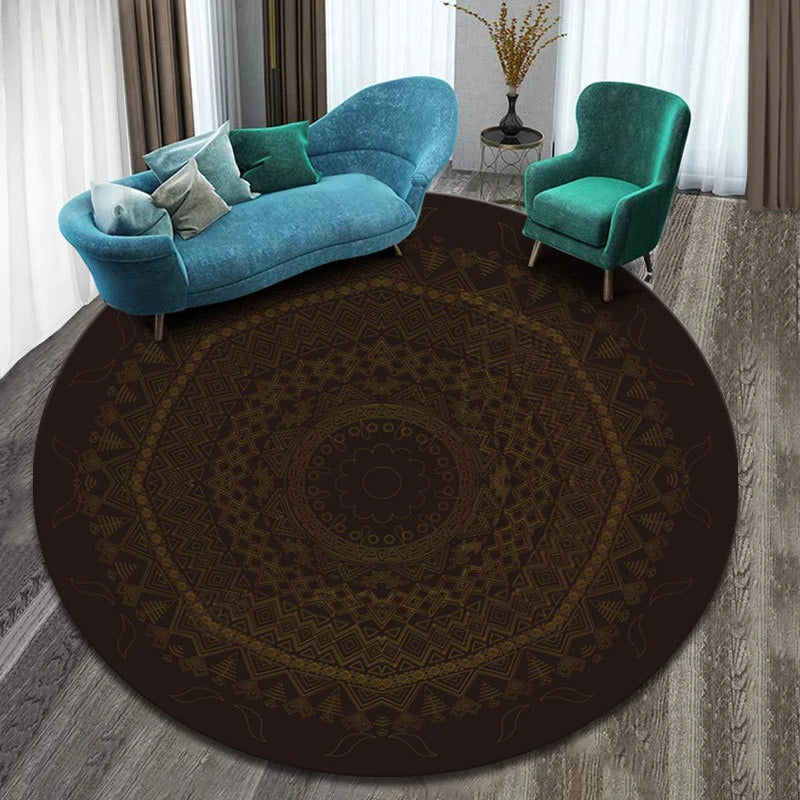 Vintage Round Rug: Model 8, color, light brown, dark brown with figures of different colors and many shapes.