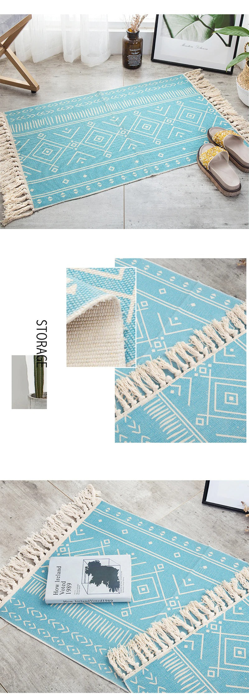 Vintage hand-woven rug, made of cotton and linen, light blue with white lines.