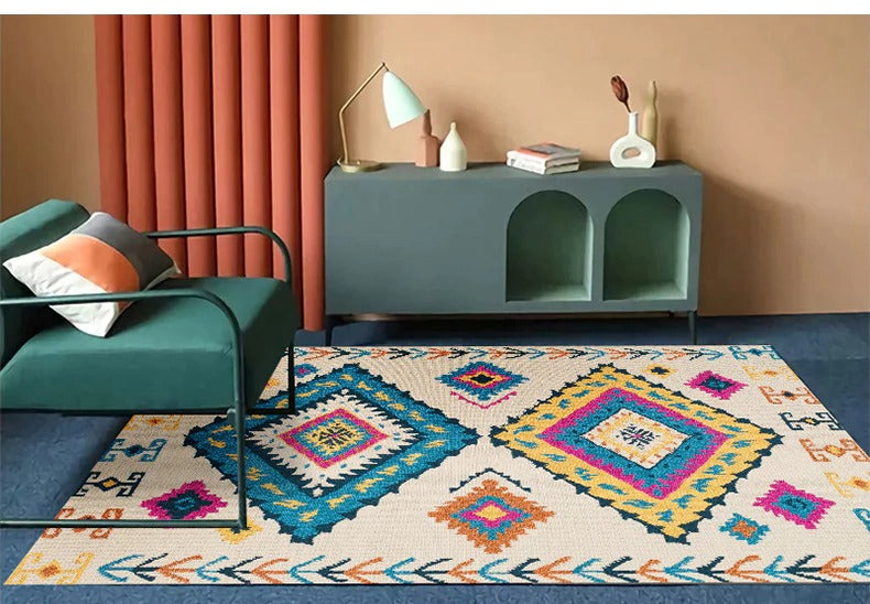 Vintage carpet white models with geometric figures