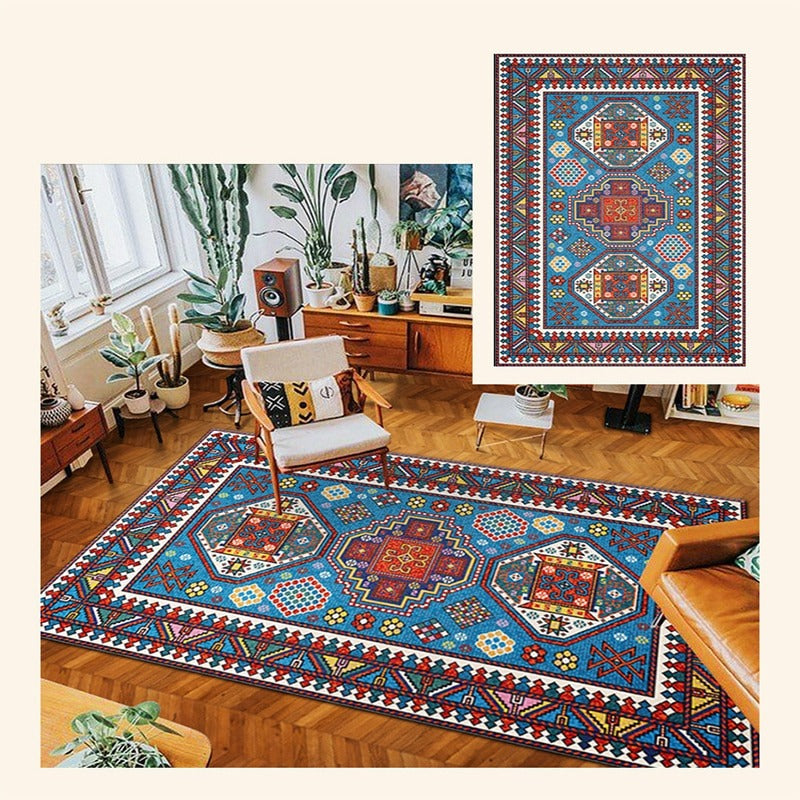Vintage hand-woven fabric rug, blue with geometric shapes of different colors
