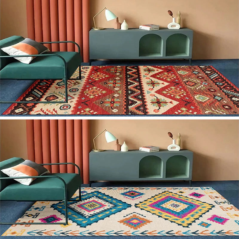 Vintage carpet white and orange models with geometric figures