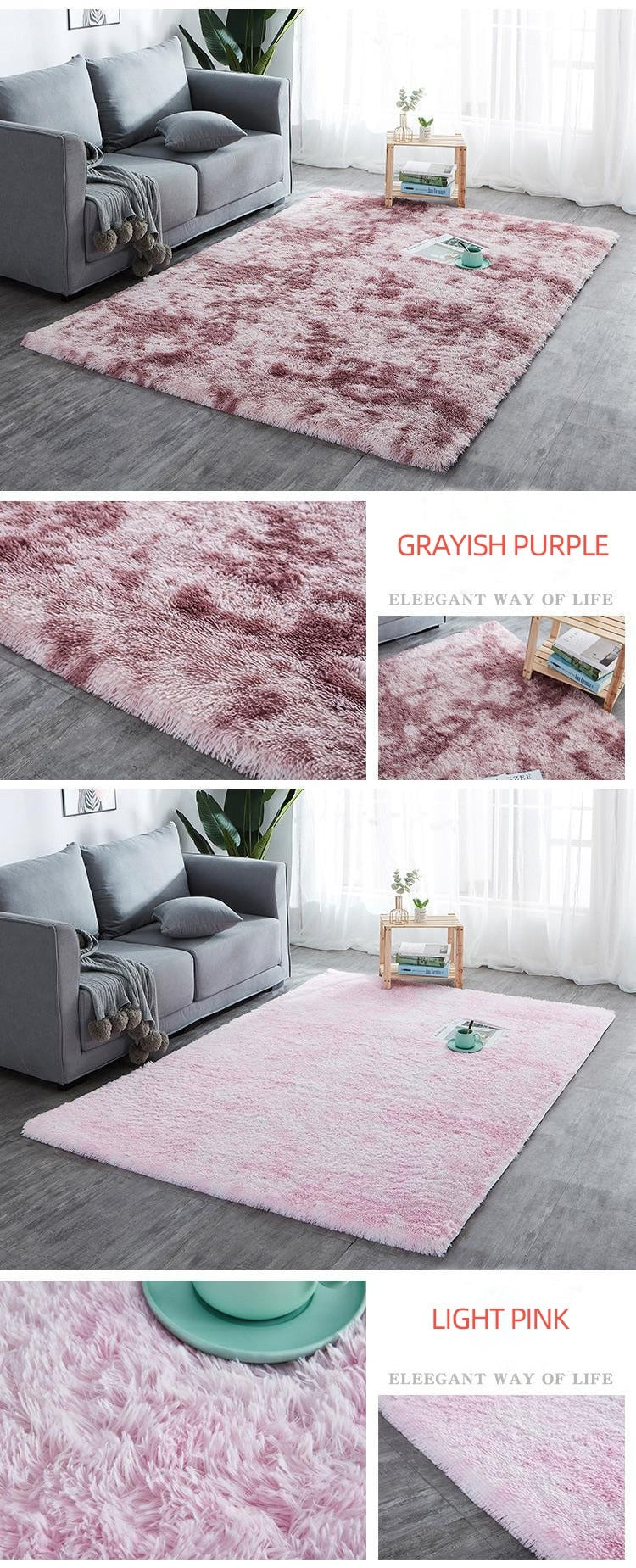 Grayish purple and light pink Rug