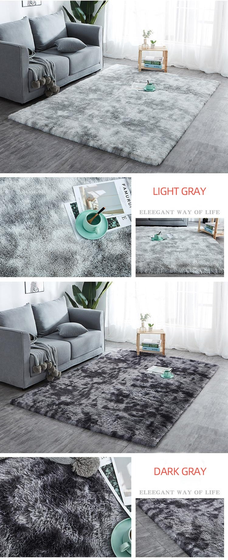 Elegant dark gray and light gray rug