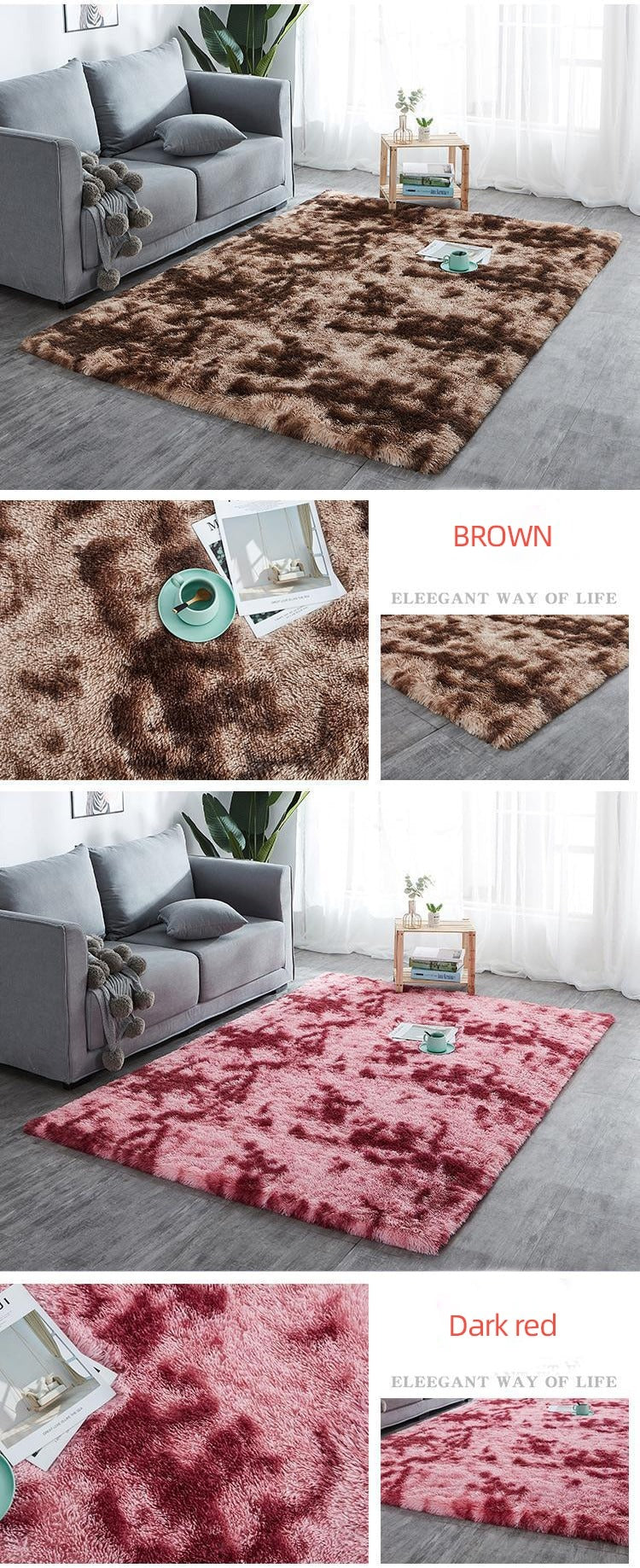 Soft brown and dark red rug
