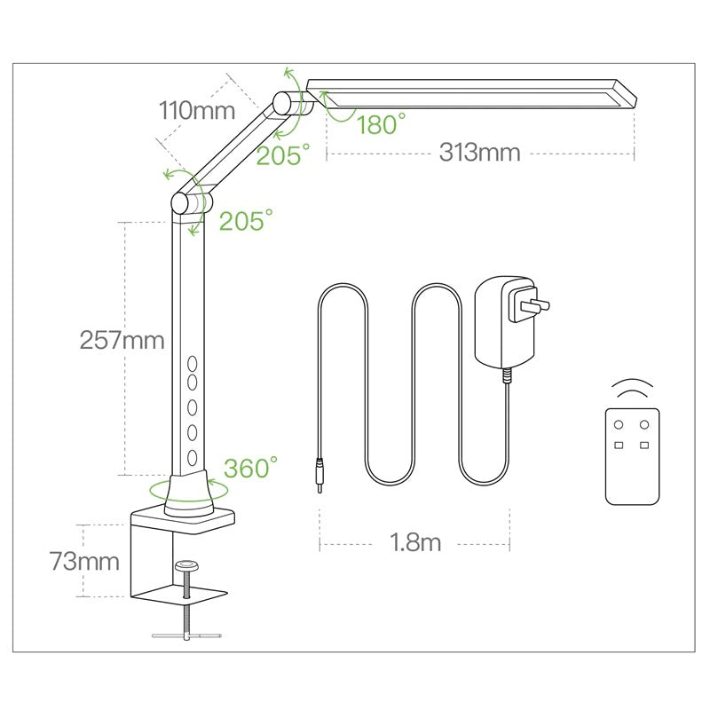 Desk lamp features and measures