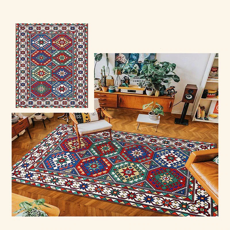 Vintage hand-woven fabric rug with geometric shapes in different colors