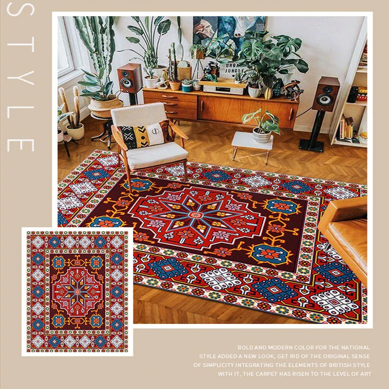 Vintage hand-woven fabric rug with geometric shapes in different colors-models