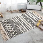 Vintage hand-woven rug, made of cotton and linen, beige with gray lines and geometric figures