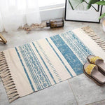 Vintage hand-woven rug, made of cotton and linen, beige with blue geometric figures