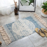 Vintage hand-woven rug, made of cotton and linen, light blue with beige geometric figures